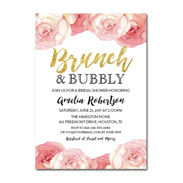 e2d49118b618 Editable PDF Bridal Shower Invitation DIY - Brunch and Bubbly Gold Glitter  Watercolor Flowers - Instant Download Printable- Edit in Adobe Reader