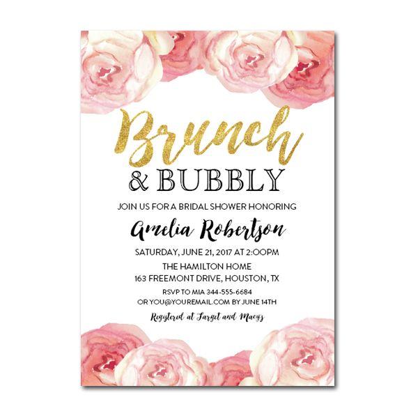 Editable Pdf Bridal Shower Invitation Diy Brunch And Bubbly Gold Gli Bridal Brunch Invitations Bridal Shower Brunch Invitations Bridal Brunch Invitations Diy