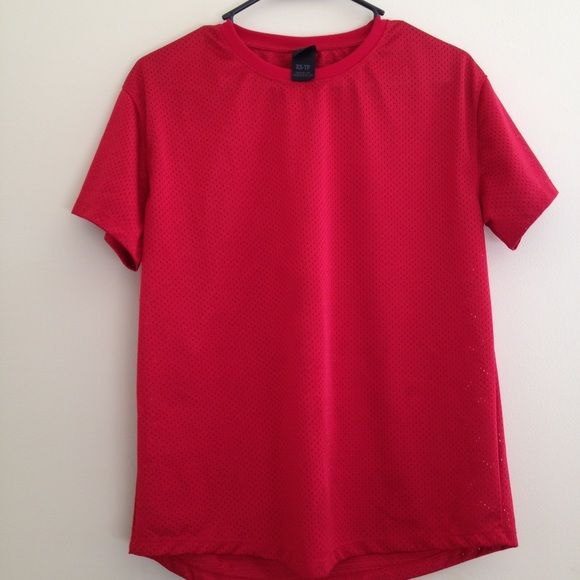 Urban outfitters jersey tee Red Net tee , Fits true to size , Worn a couple of times but still in good condition. It is a men's xs but it fits like a women's small. Urban Outfitters Tops