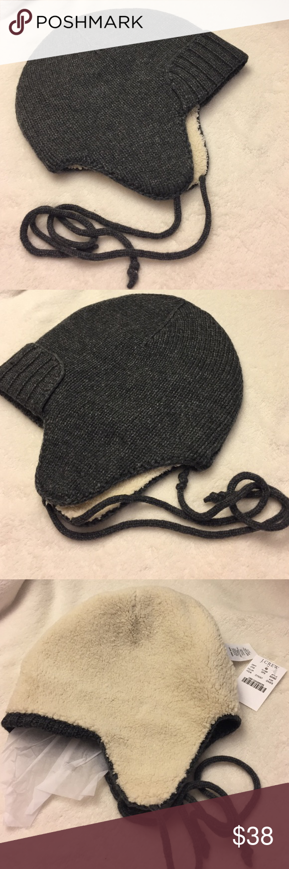 Jcrew trapper hat New with tag wool blend.   Viscose/wool/nylon/angora.  With a plush Sherpa lining and ear flaps J. Crew Accessories Hats