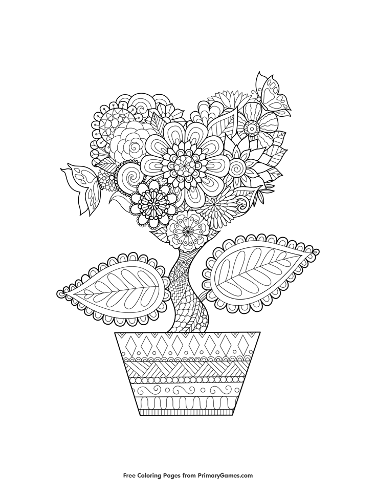 Valentine\'s Day Coloring Pages eBook: Heart Flower | Free printable ...