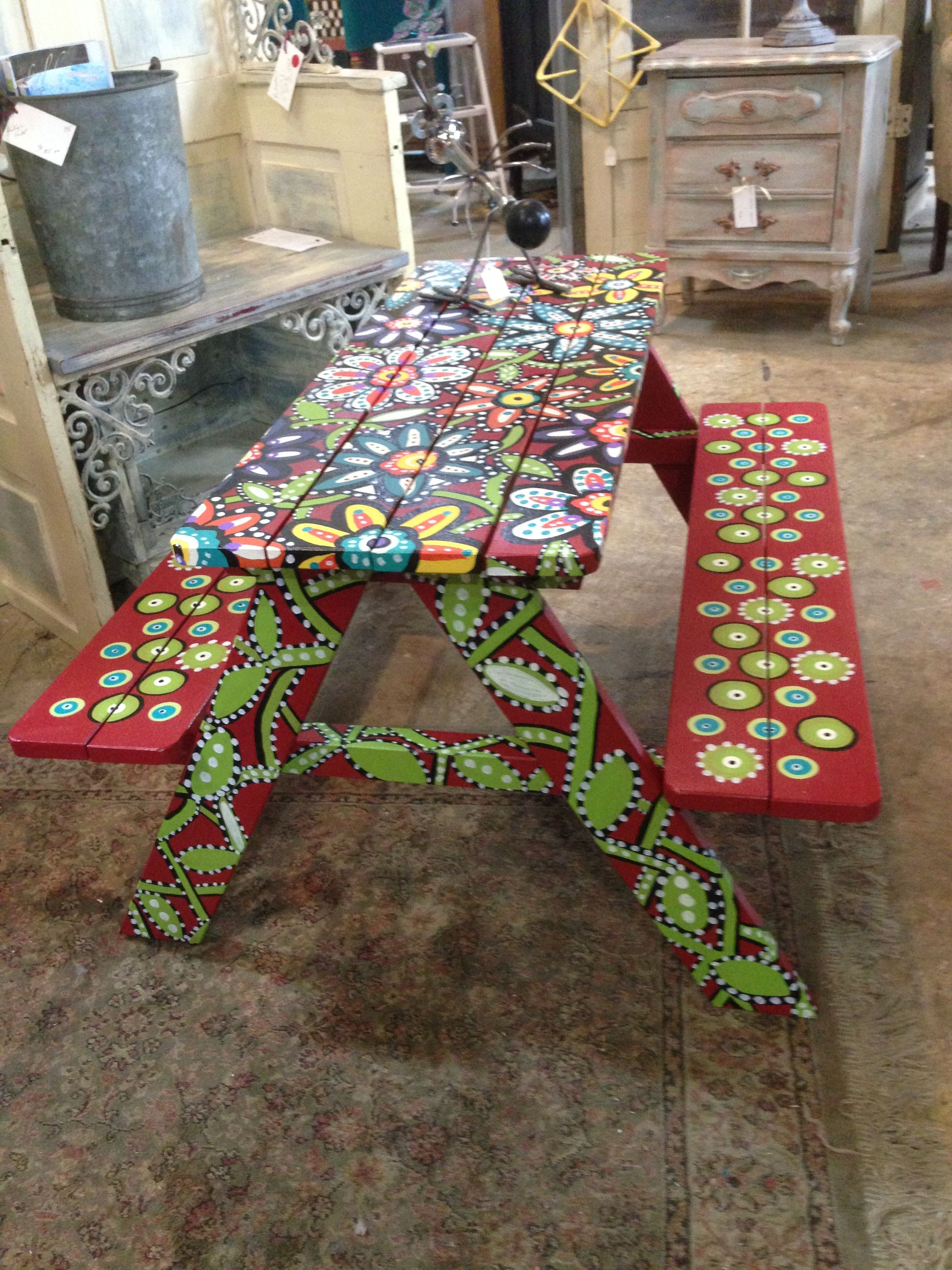 Kids Picnic Table Art In 2019 Whimsical Painted