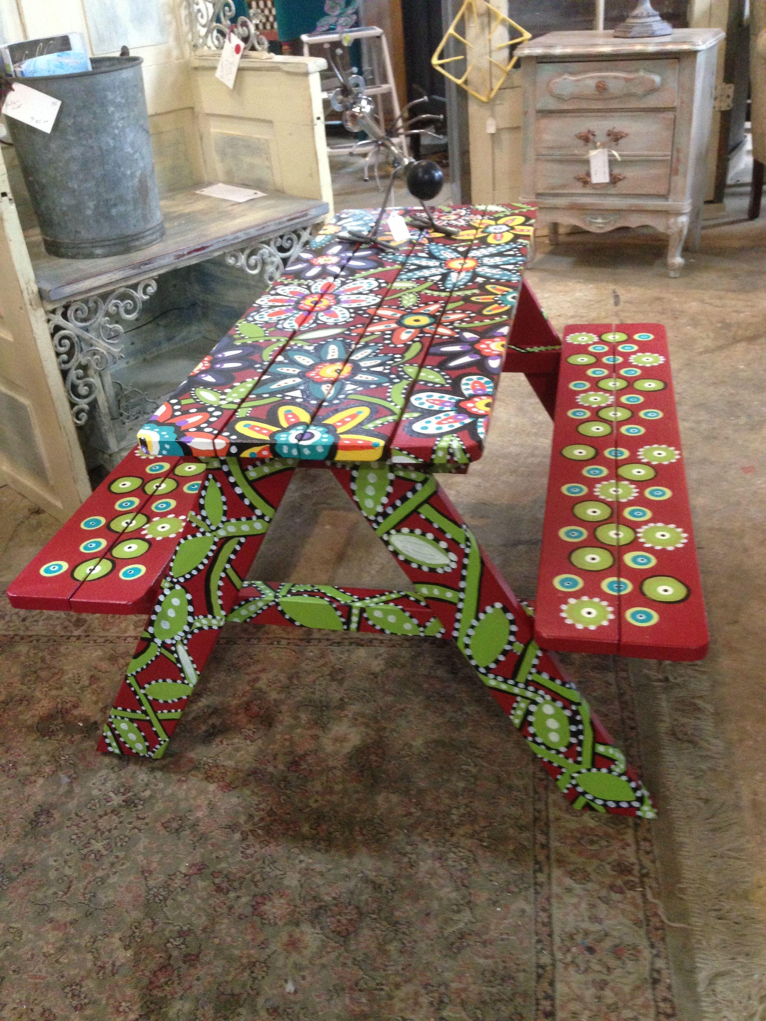 Kids Picnic Table Art Antique Vintage Amp Repurposed