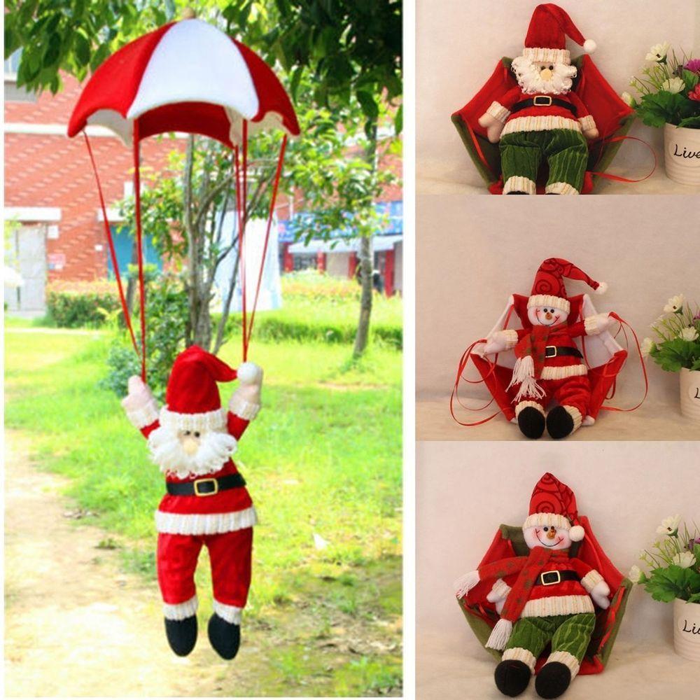 Christmas Tree Hanging Decoration Parachute Santa Snowman Claus Xmas ...