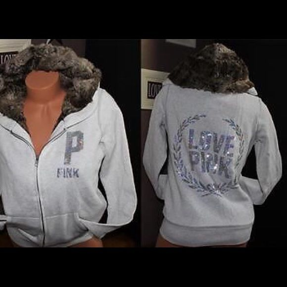 Selling this SOLD VS PINK BLING FUR LINED ZIP UP HOODIE JACKET in my Poshmark closet! My username is: cmccullough9. #shopmycloset #poshmark #fashion #shopping #style #forsale #PINK Victoria's Secret #Jackets