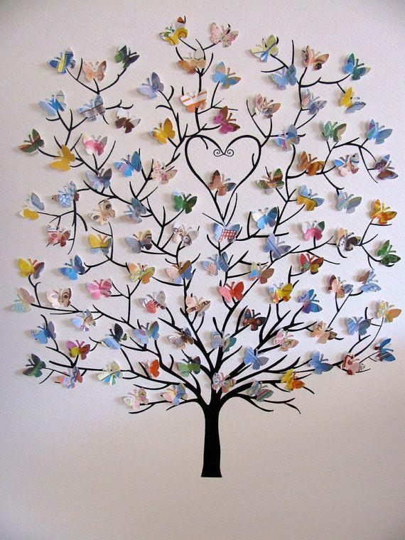 BEISPIEL zeigt 11 X 14 Zoll Custom Made 3D Mini Butterfly Baum aus ein gebrauchtes Exemplar des LOVE YOU FOREVER, der geliebten Klassiker von Robert Munsch geschaffen.  Jede Kreation wird einzigartig sein, auch wenn Sie das gleiche Buch verwenden!  DETAILS - PERSONALISIERT mit NAMEN oder EINZELNES WORT an UNTERSEITE des Baums ---GRÖßE beträgt 11 x 14 Zoll mit BAUM in SCHWARZER Tinte gedruckt ---UNmatted und ungerahmt Einige standard-Frames kommen mit einer MATTE, die Öffnung zu passen 11 X 14 Ku