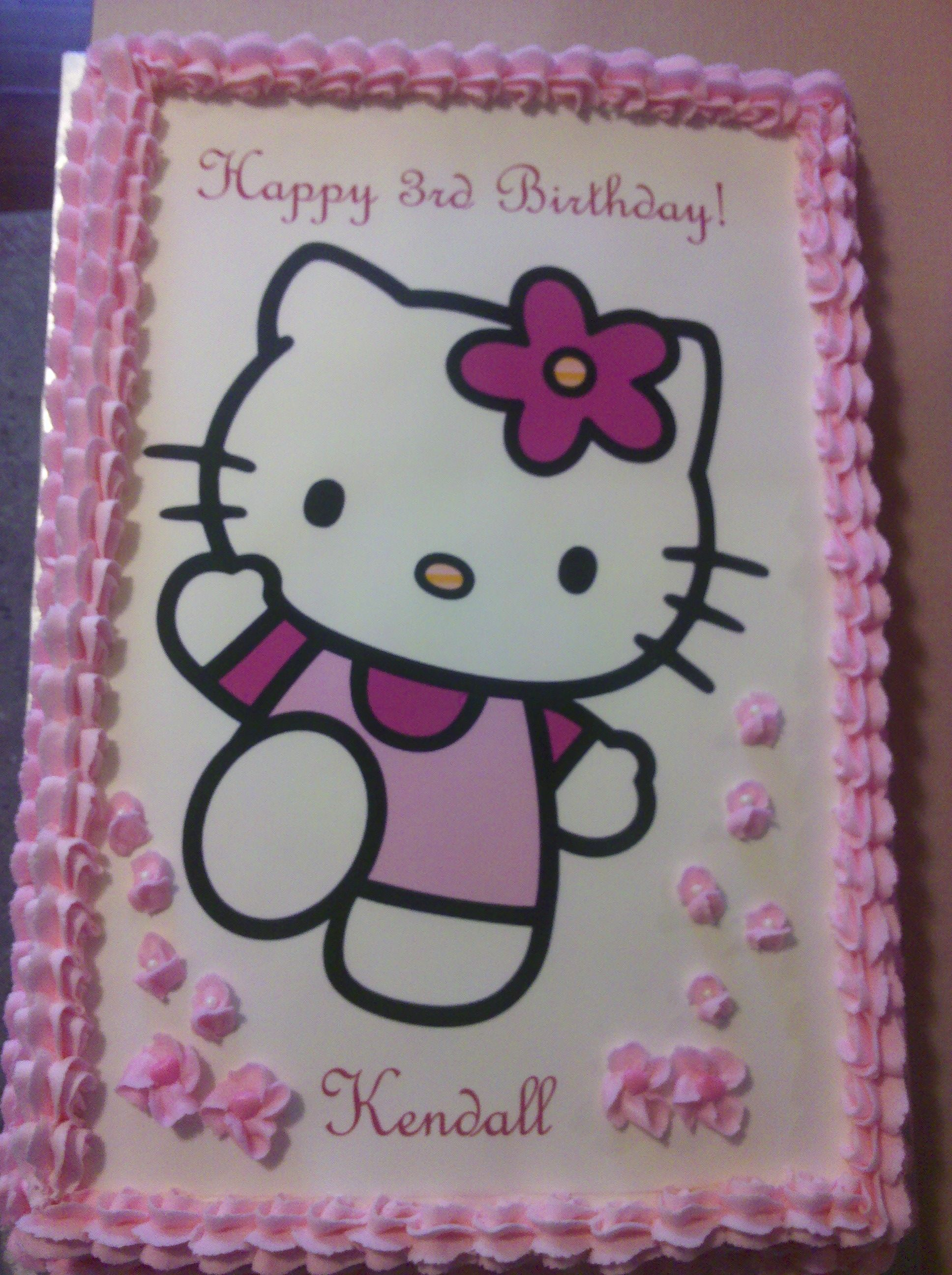 Happy Birthday Kendall Hello Kitty Cake With Images Hello Kitty Hello Kitty Cake Hello Kitty Party