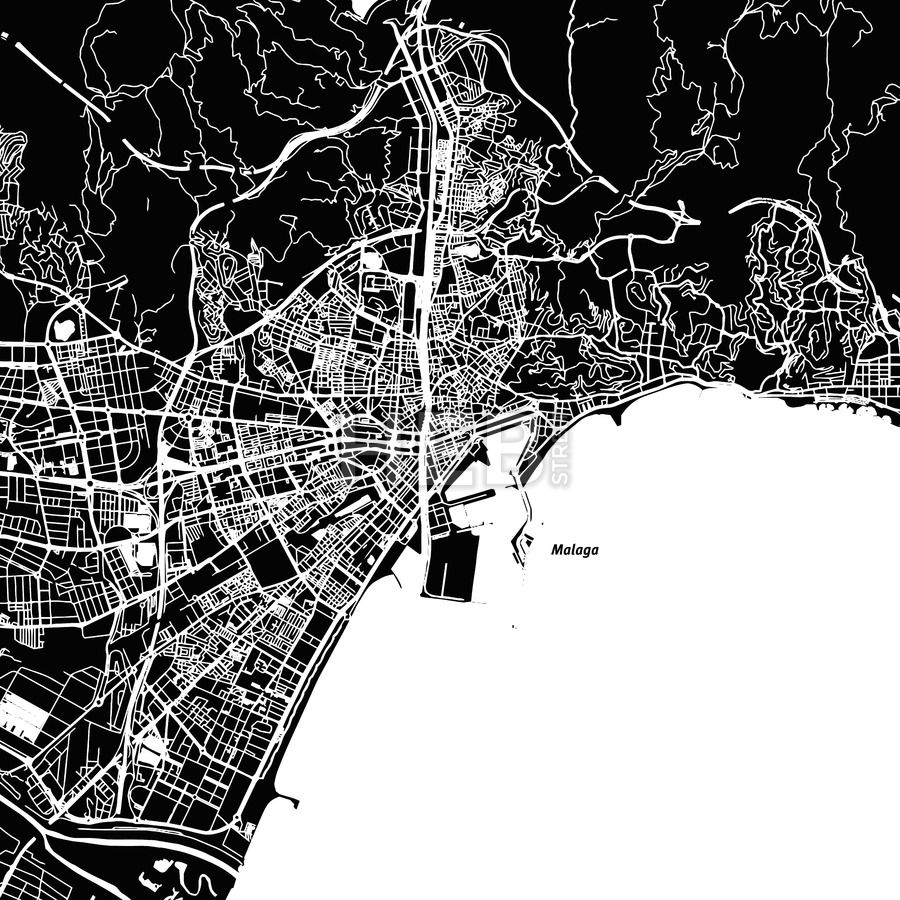 Malaga Vector Map HEBSTREITS Malaga Vector