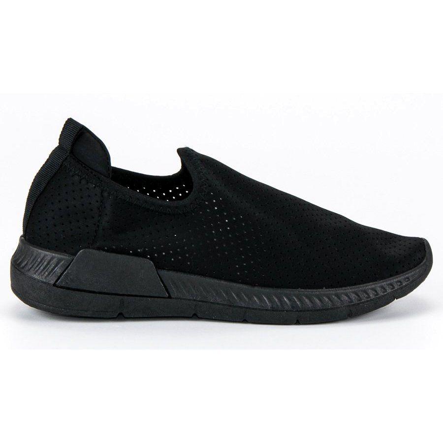Azurowe Wsuwane Buty Sportowe Czarne All Black Sneakers Slip On Sneaker Sneakers