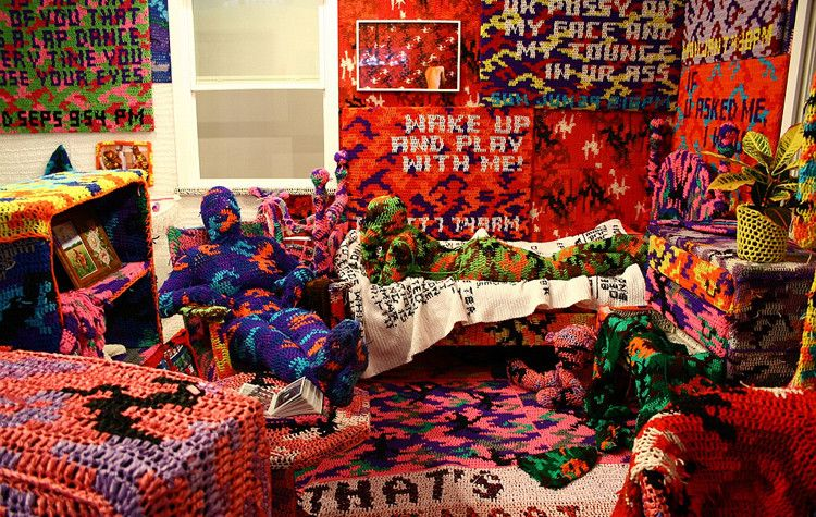 an entire apartement covert in crochet by artist olek