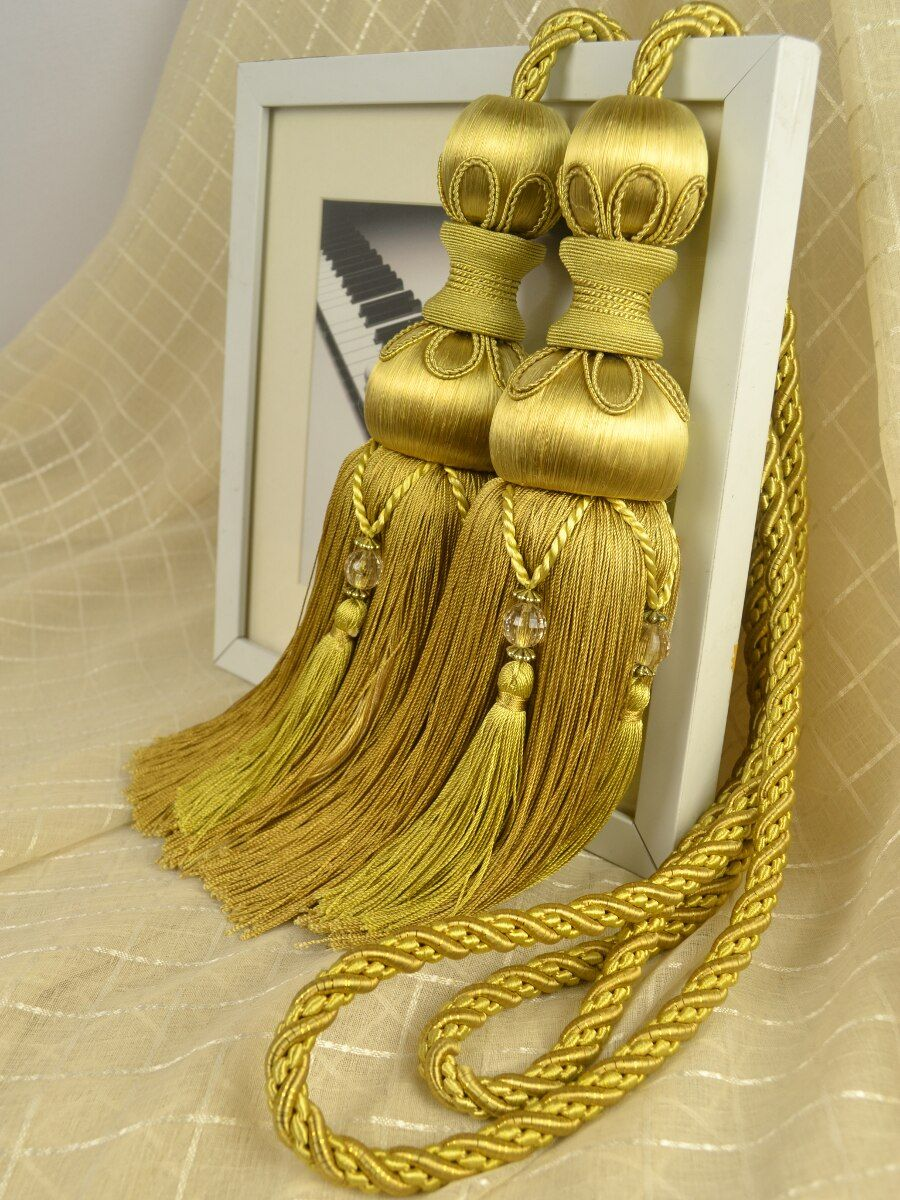 6 Colors Qym09 Faux Silk Curtain Tassel Tie Backs In Yellow Color