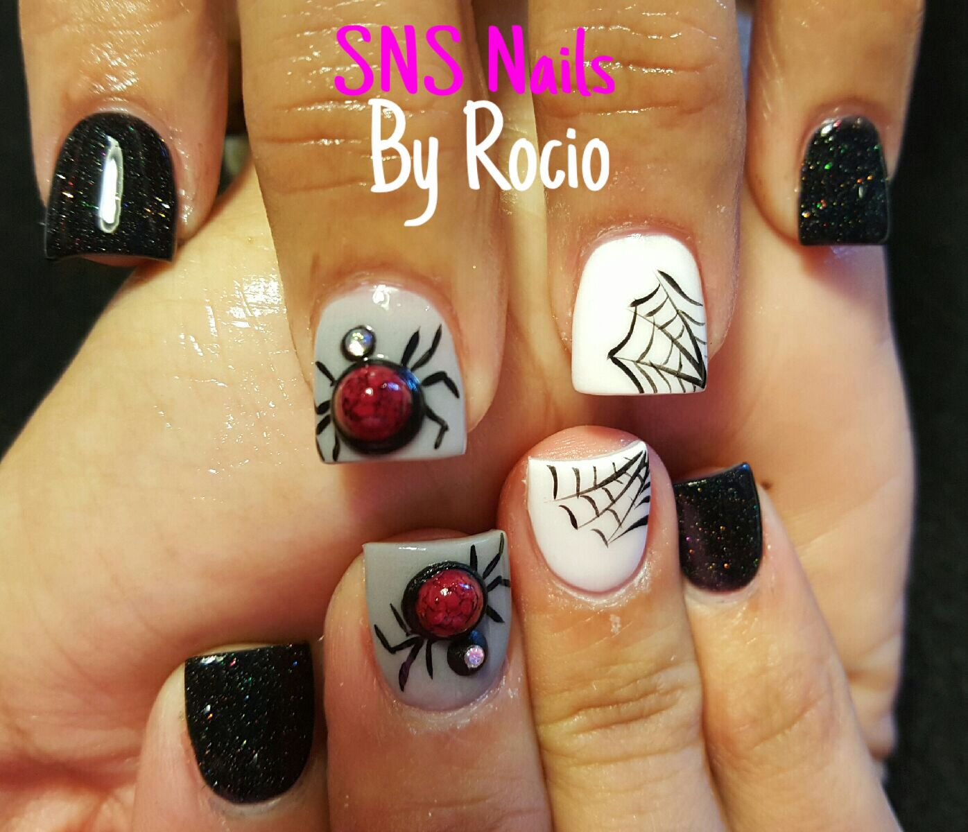 SNS nails with 3D Halloween designs ! | Sns nails, Sns dip ...