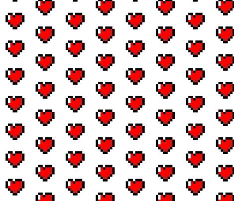 Colorful Fabrics Digitally Printed By Spoonflower Pixel 8 Bit Heart White Craft Fabrics Fabric Knitting Patterns Free Sweater