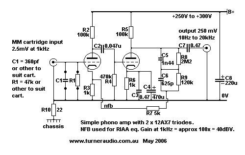 schematic phono amp 2 x 12ax7