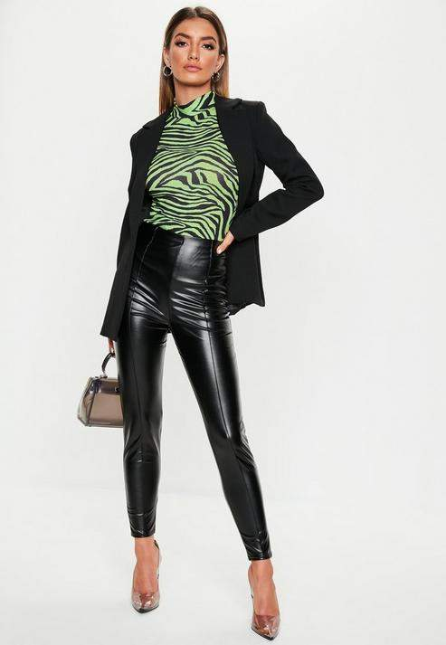 Super discount limited guantity 100% authentic Missguided Black Faux Leather Pin Tuck Leggings | Products ...