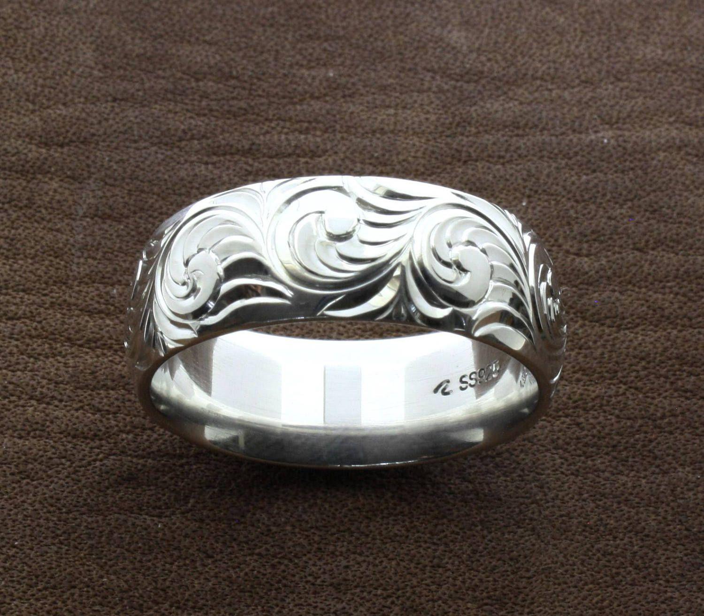 mens western wedding rings hand engraved ring custom couples rings