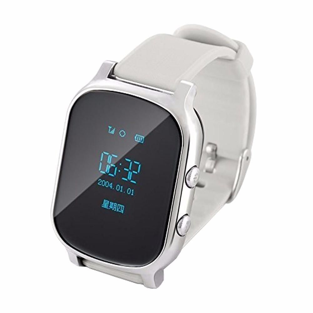 T58 Kids Elderly Phone Call SOS Positioning Location GPS Tracker Smart Watch For Iphone 7 Android Phone - Silver