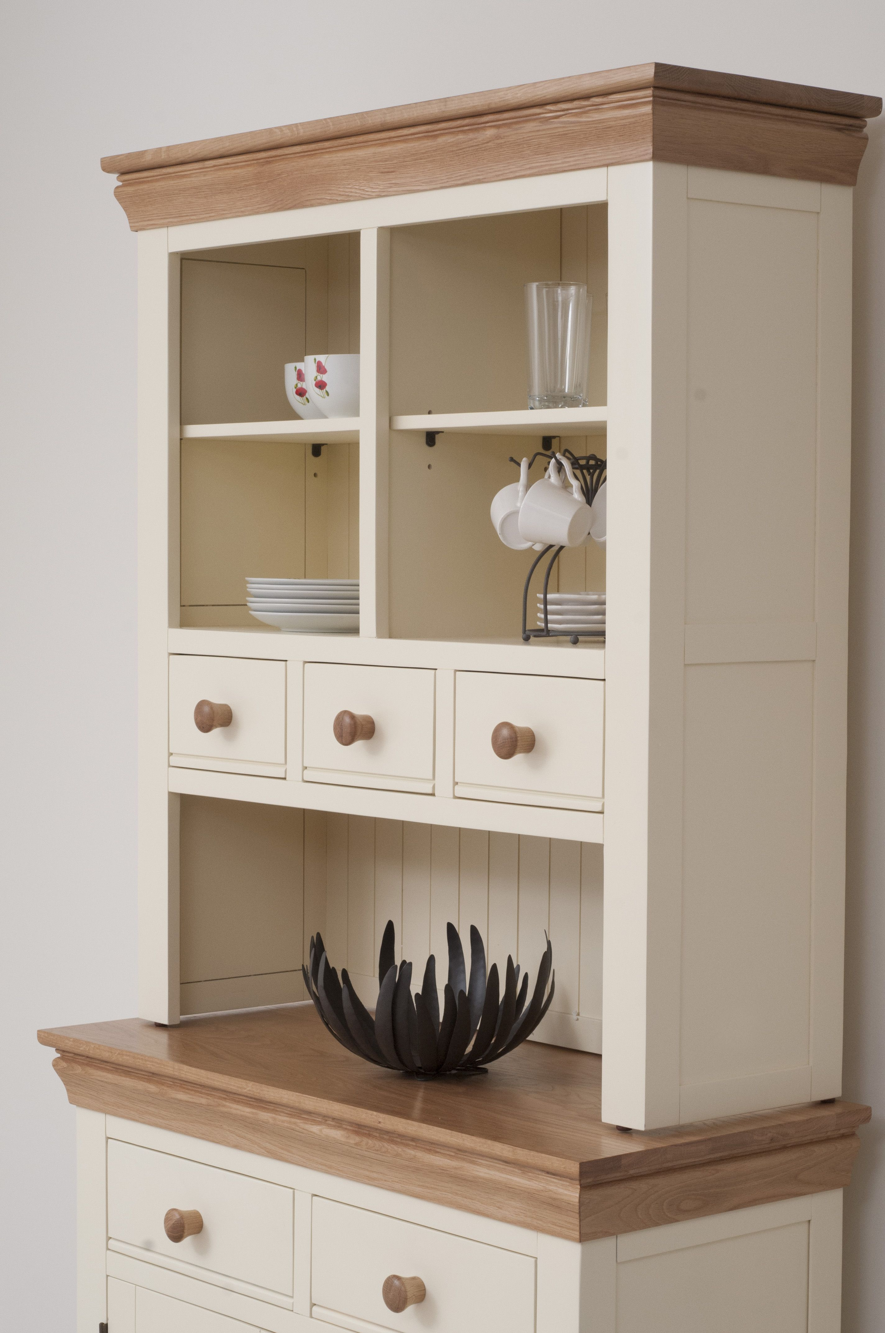 Country Cottage Painted Funiture Cabinet Cream Welsh Dresser Oak
