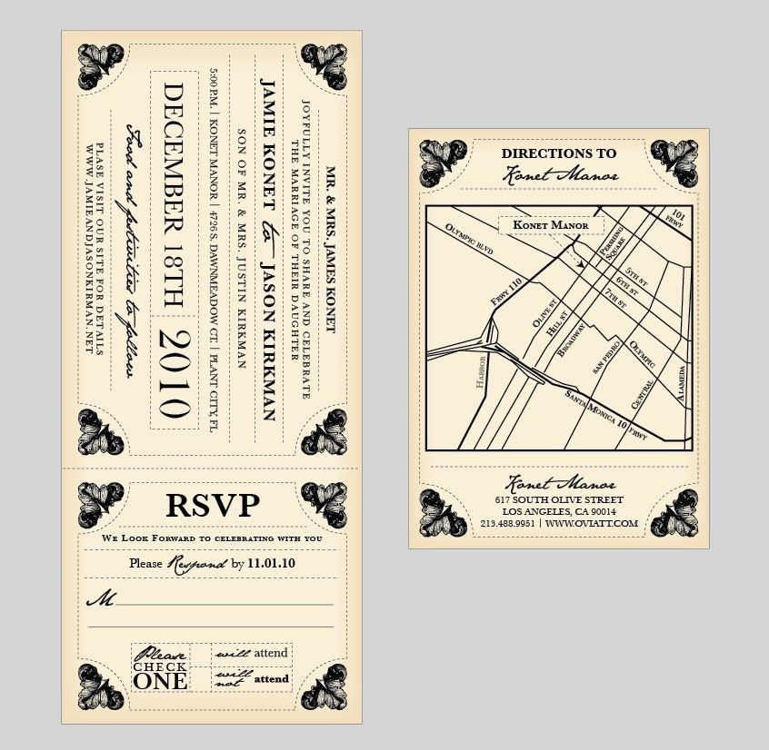 Vintage Train Ticket Template Wedding Invitations
