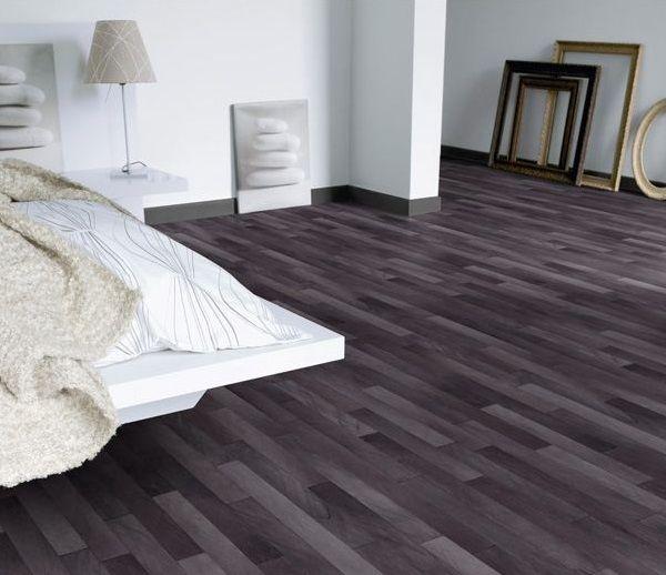 Dark Gray Vinyl Flooring Match White Furniture For Bedroom