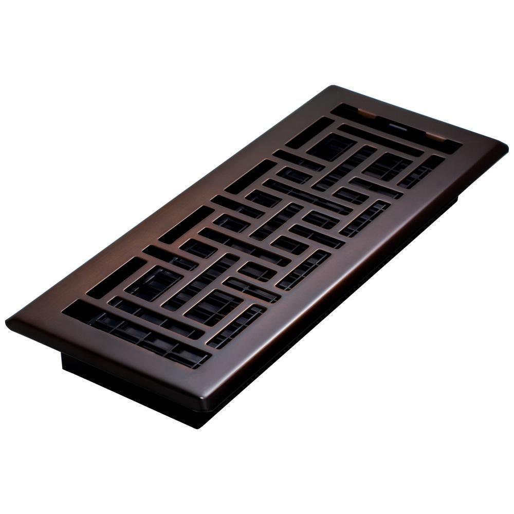 4 in. x 12 in. Steel Floor Register, OilRubbed Bronze