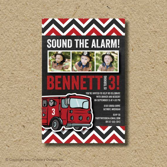 fire truck birthday party invitation photo card products rh pinterest com