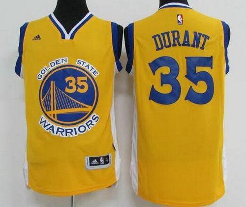 9d1df1dcf Men s Golden State Warriors  35 Kevin Durant Yellow Revolution 30 Swingman  Basketball Jersey