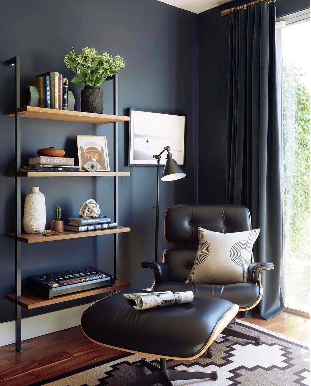 blue office paint colors. Moody Mid Century Home Office - Emily Henderson Blue Paint Colors