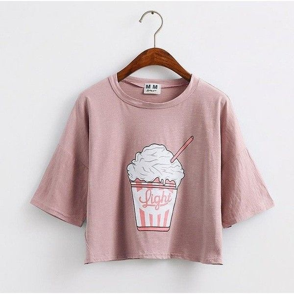 2f63c8069c8e6 MERRY PRETTY CROP TOP LOOSE SLEEVES ICE CREAM KOREAN STYLE LOOSE... ( 15) ❤  liked on Polyvore featuring tops