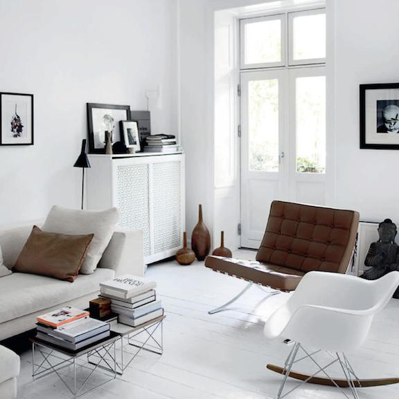 Mies Van Der Rohe Barcelona Chair + Eames RAR + Eames Wire Base Low Table