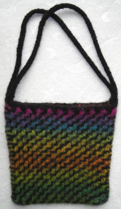 Diagonal Ripple Felted Purse Knitting Pattern