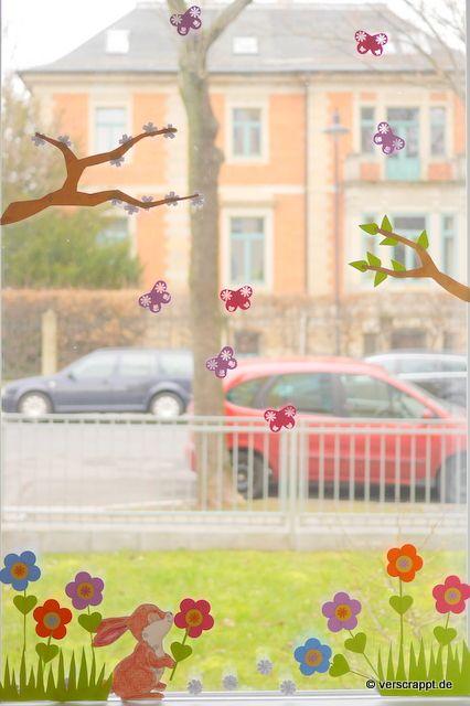 Awesome Gestanzte Fensterdekoration f r Fr hling und Ostern
