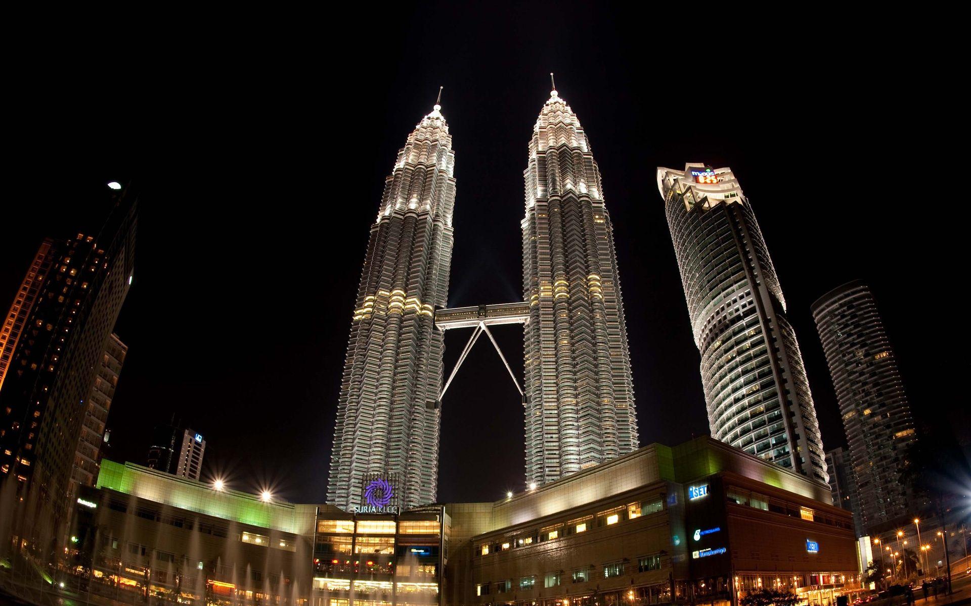 Petronas Towers Night View HD Desktop Wallpaper