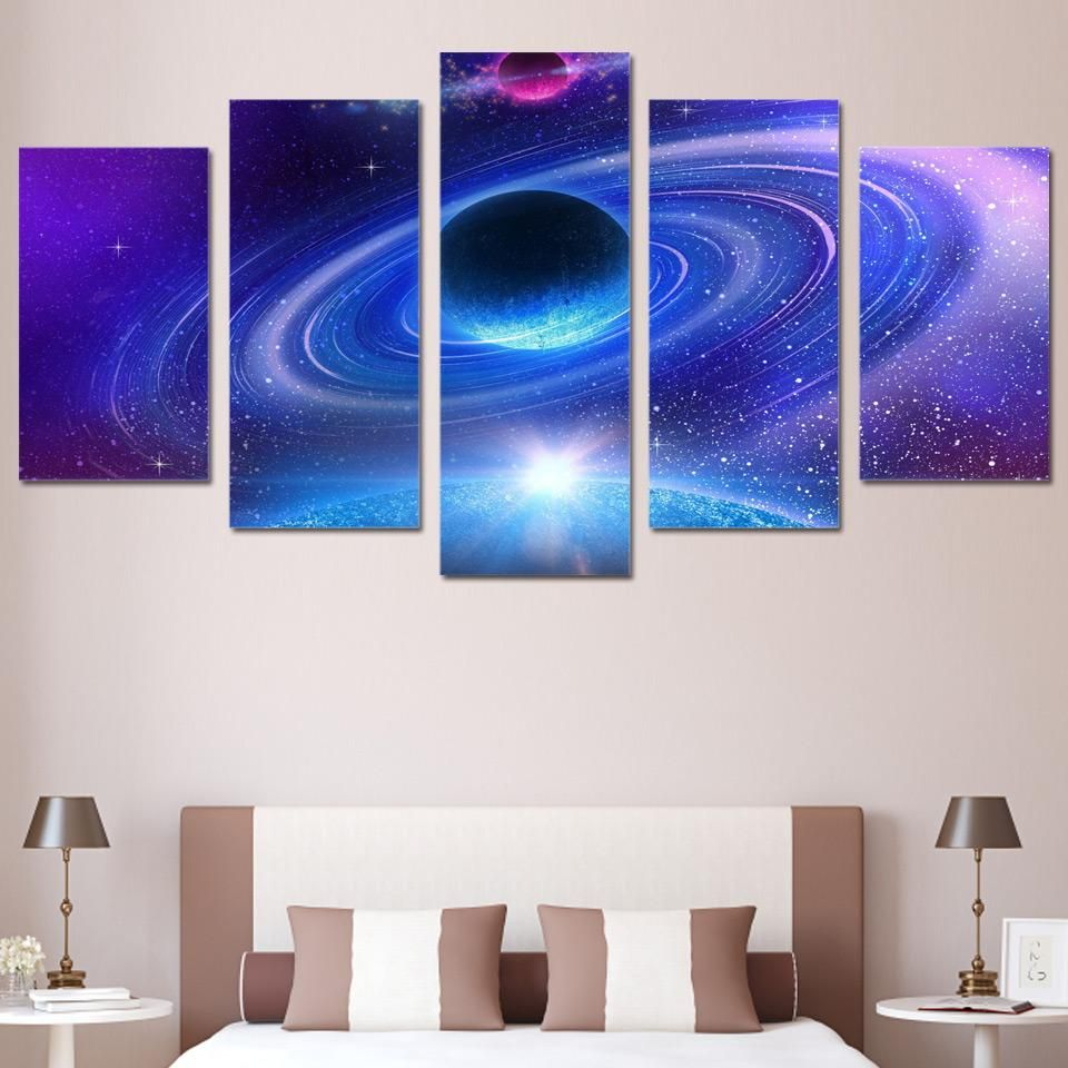 Wall Art Canvas Painting Universe Space Planet Starry Sky 5 Piece Hd