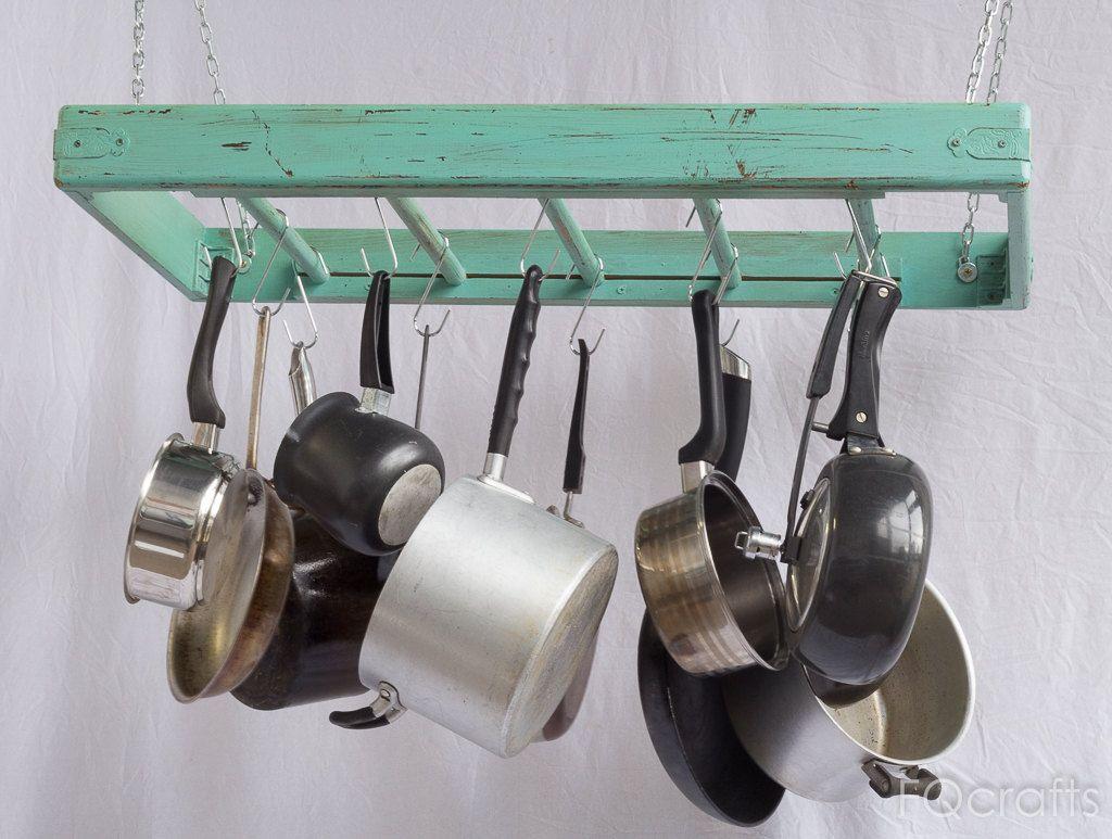 Hanging Pot Rack - Wooden - Ceiling Mounted - Rectangular ...