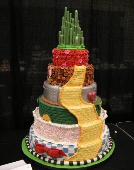 Wizard of Oz wedding cake. I love how each character has their own layer!
