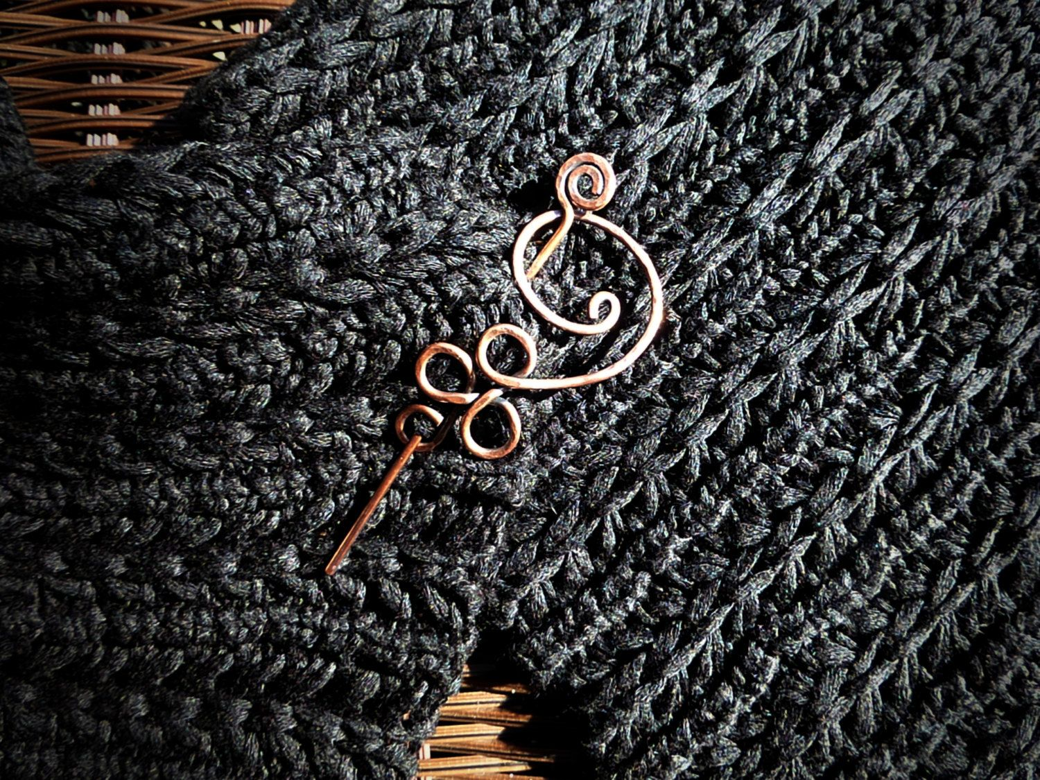 Handmade Forged Copper Flower Swirl Shawl Pin - 2 Piece - pinned ...