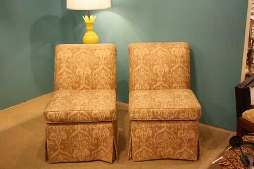 Slipper Chairs with Custom Fabric | Tips for slipper chairs: ask your upholsterer for the waterfall skirt ...