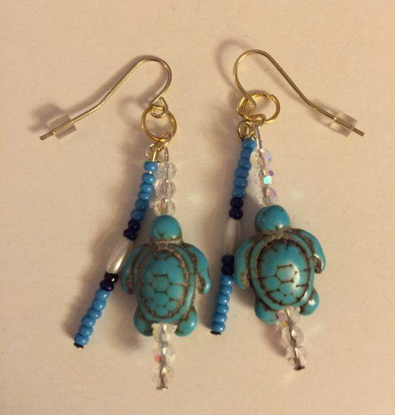Native American Beaded Turquoise Turtle Dangle Pierced Earrings