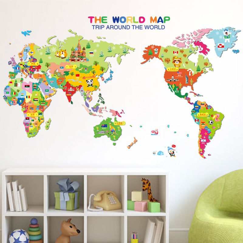 Find more wall stickers information about new creative cartoon world find more wall stickers information about new creative cartoon world map wall sticker diy home decoration gumiabroncs Image collections
