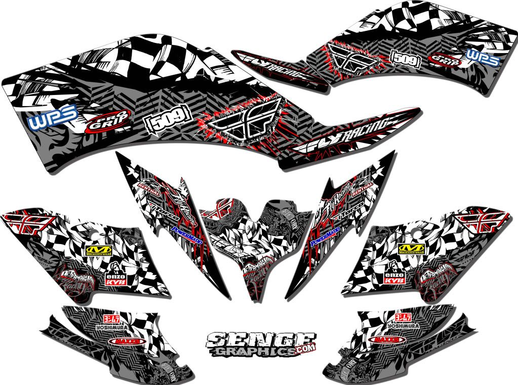 SUZUKI LT-R 450 LTR450 CREATORX GRAPHICS KIT DECALS TRIBAL MADNESS GREEN