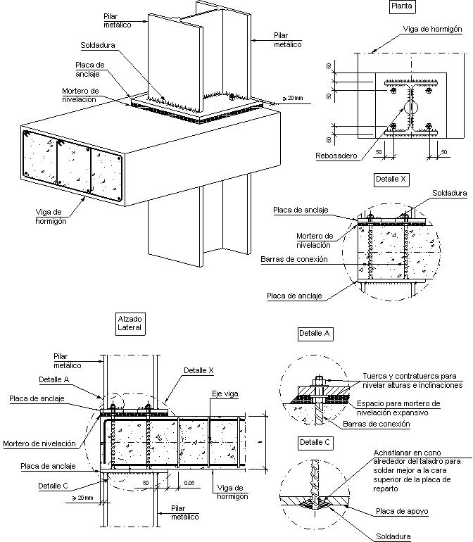 Detalles Constructivos Cype Eam019 Union En Extremo De Vano De Viga De Hormigon Con Pilar Metalico Detalles Constructivos Plano De Detalle Vigas De Concreto