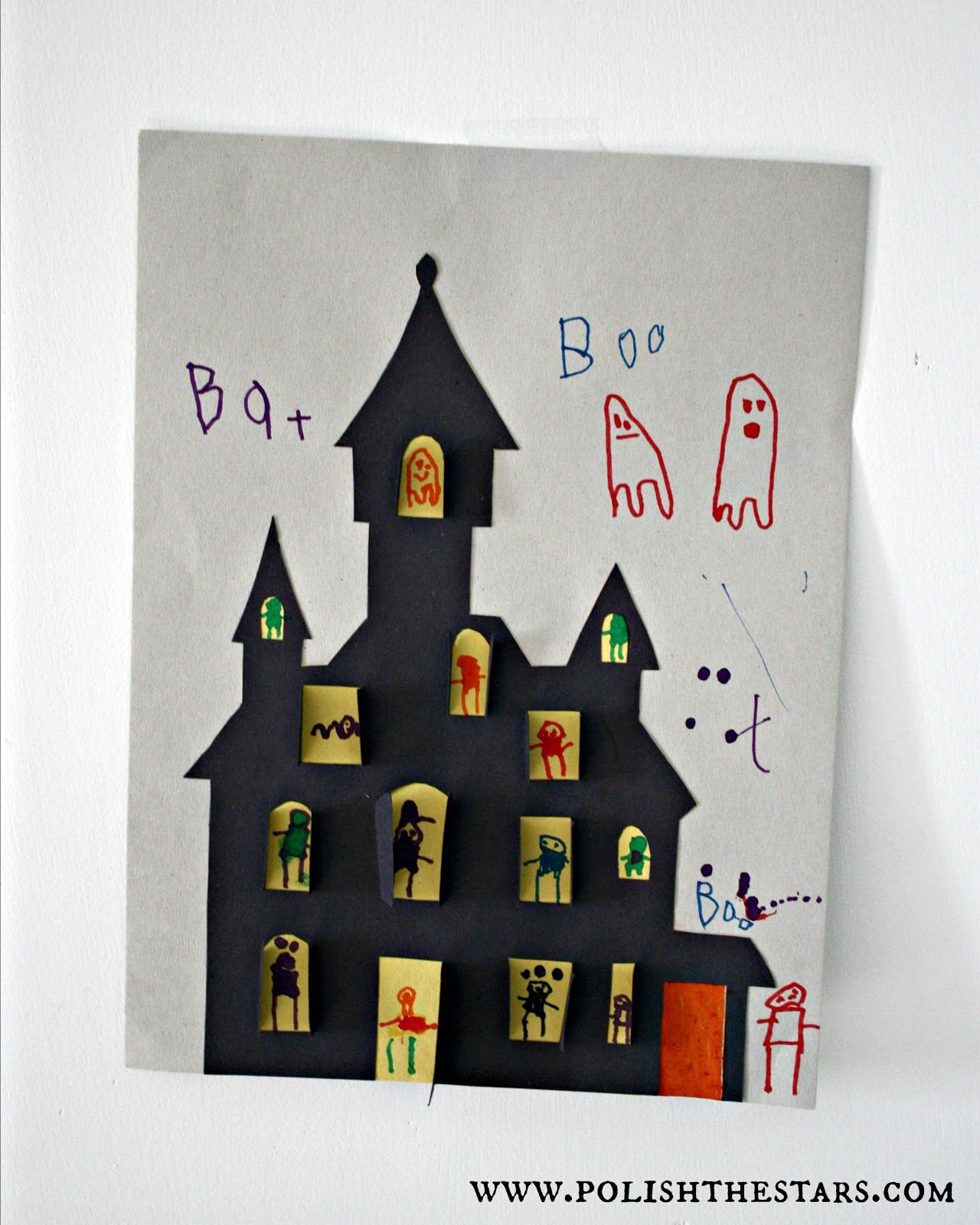 Haunted House Cut-Out, Did this for Halloween Craft Party 2012, It ...