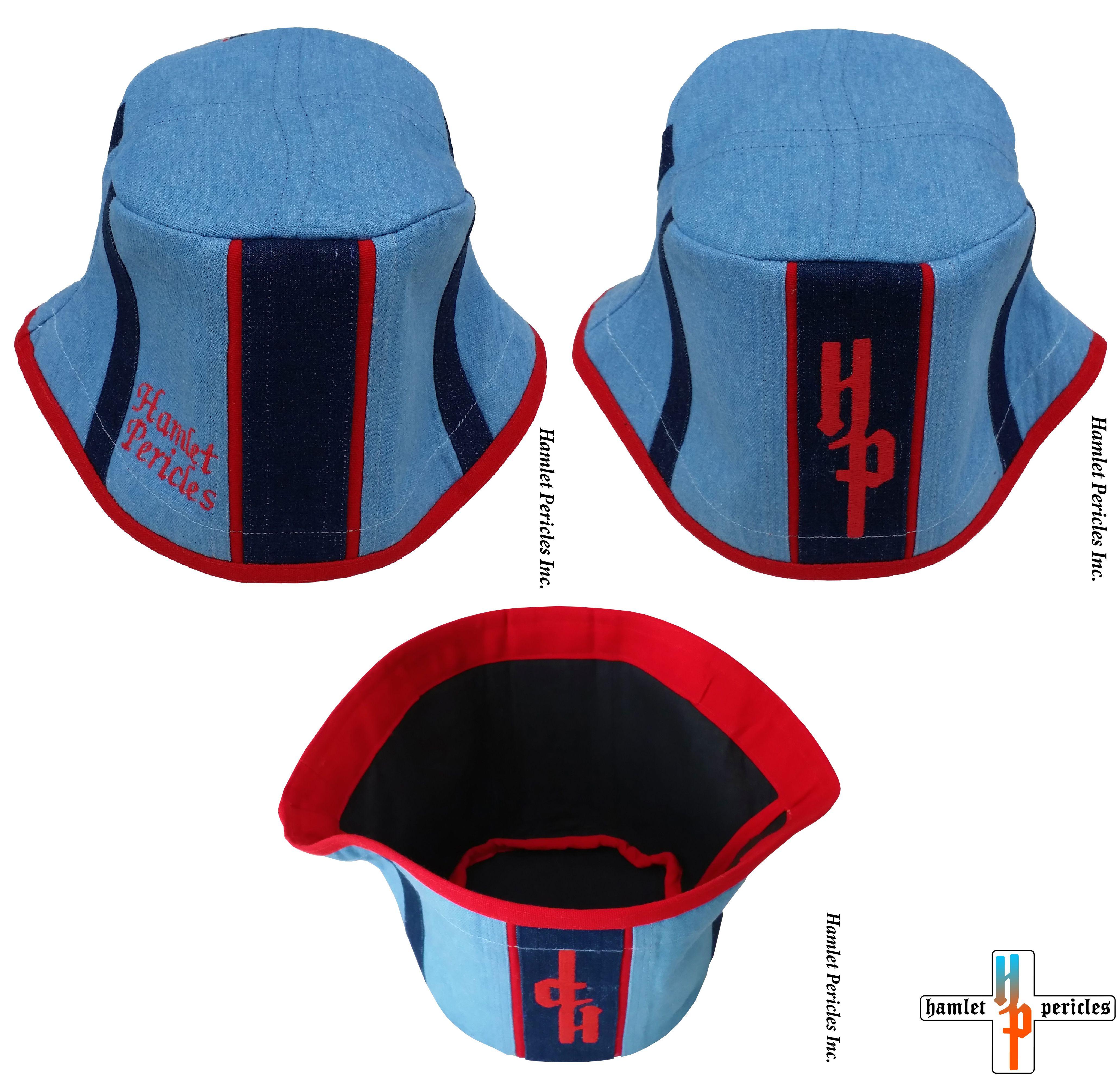 111e52fd Sky Blue Denim + Navy Denim + Red Duck Cotton Bucket Hat via Hamlet Pericles,  Inc.   #Hamlet #Pericles #BucketHat #SkyBlue #SkyBlueDenim #BlueDenim  #Denim ...