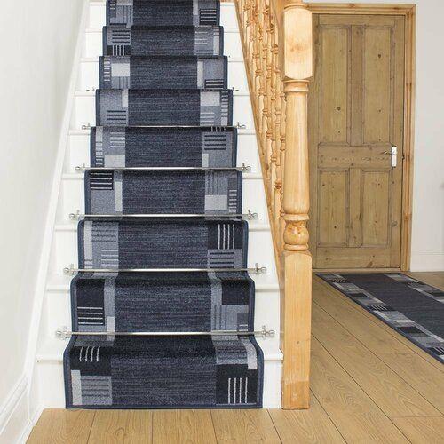 Best Alpena Twist Pile Midnight Blue Stair Runner Rosalind 400 x 300