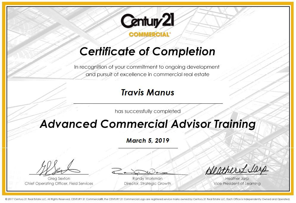 Aca Training Cert Commercial Real Estate Commercial Chief