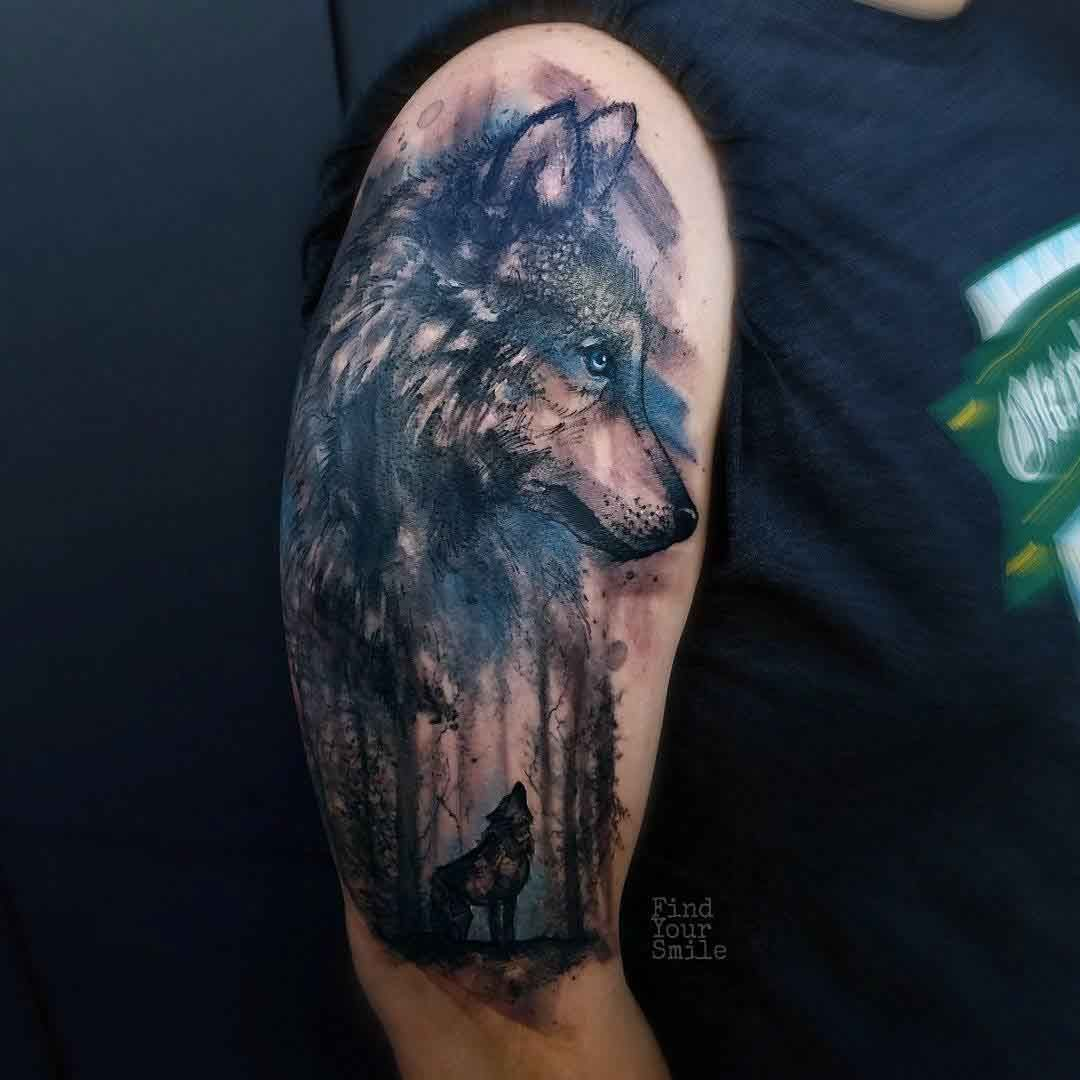 Wolf Shoulder Tattoo Be Better If It Was Facing Forward Wolf Tattoos Men Tribal Tattoos Wolf Tattoo Shoulder