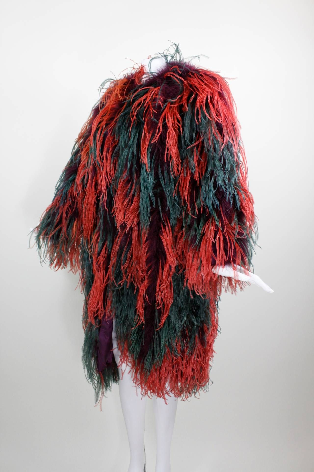 3a3459aeed6 Yves Saint Laurent Rainbow Marabou and Ostrich Jacket image 4 | Oh ...