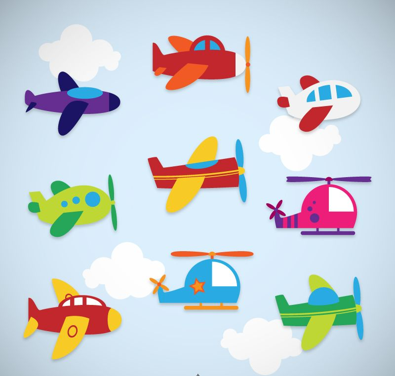 Cartoon Airplane Stickers Vector Decoracao De Aviao Arte E