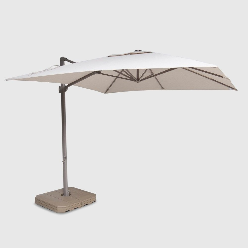 10' Square Offset Patio Umbrella Beige - Ash Pole - Project 62 in